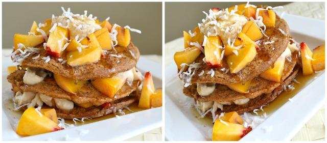 Coconut-Peach-Pancakes