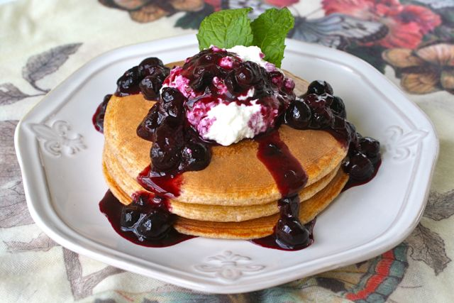Blueberry Cobbler Protein Pancakes
