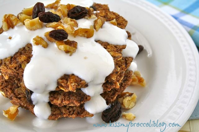 Oatmeal Raisin Pancakes with Vanilla Yogurt Icing