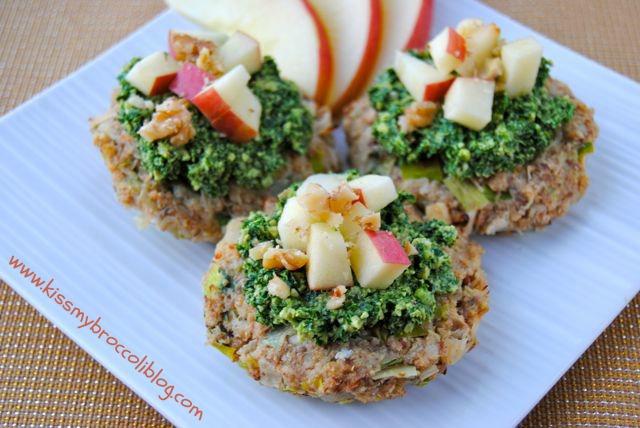 Apple Crab Cakes with Kale Walnut Pesto 2