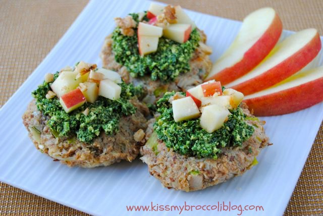 Apple Crab Cakes with Kale Walnut Pesto 4