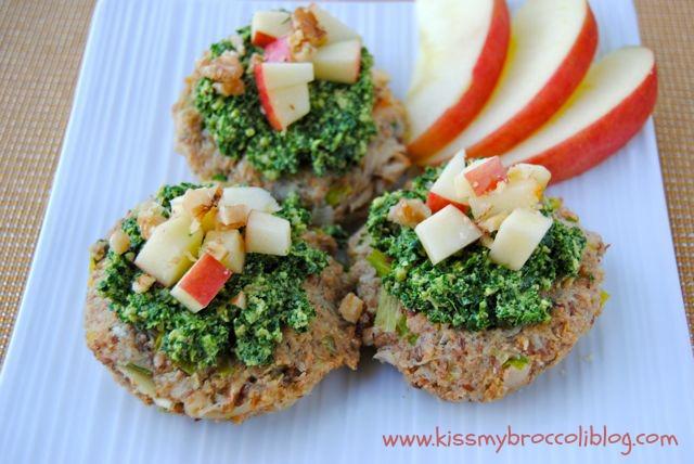 Apple Crab Cakes with Kale Walnut Pesto