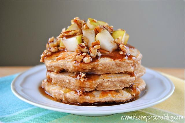 Ginger Pear Pancakes with Maple Pecan Syrup - 1