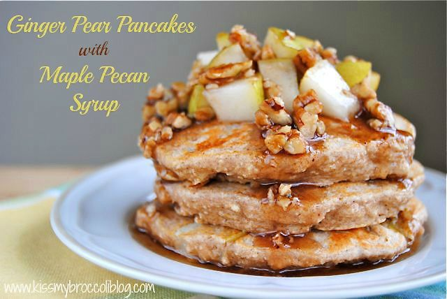 Ginger Pear Pancakes with Maple Pecan Syrup - TITLE