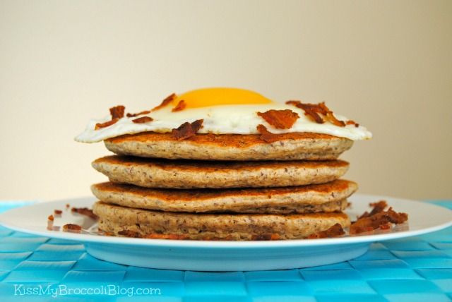Maple & Brown Sugar Oatmeal Pancakes with Egg & Bacon
