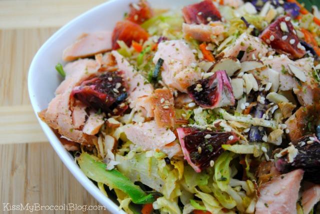 Roasted Cabbage Salad with Smoked Salmon & Blood Orange