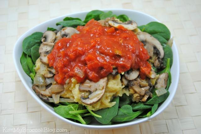 Spaghetti Squash Mushroom Marinara Salad