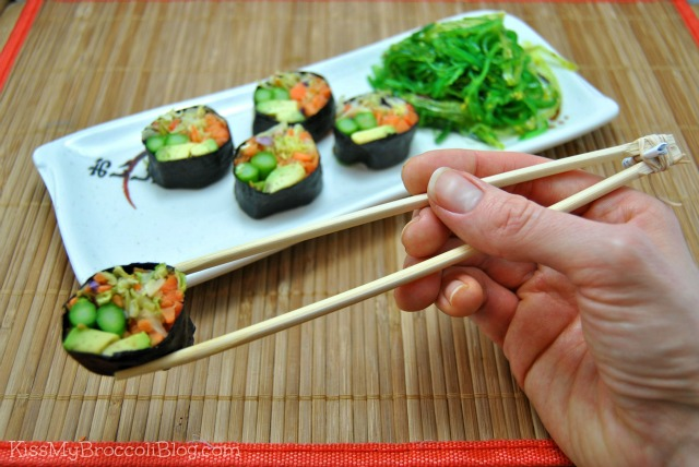 Sushi with Kiddie Chopsticks
