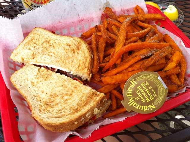 Young Ave Deli Veggie Sandwich & Sweet Potato Fries