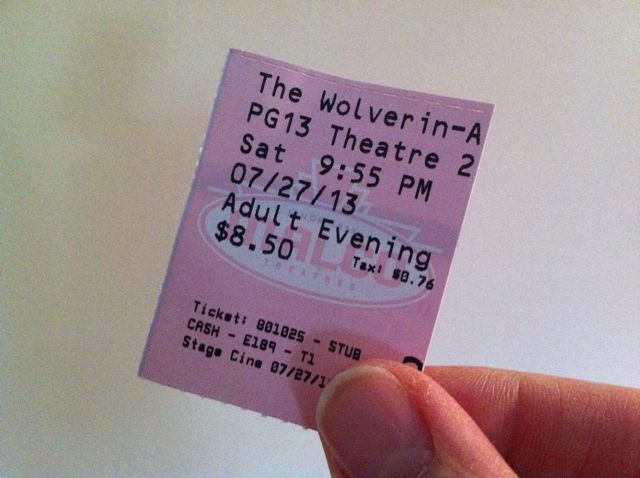 Movie Ticket Wolverine