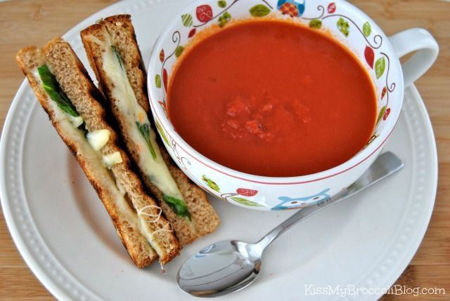 Tomato Soup with Grilled Cheese & Basil Sandwich