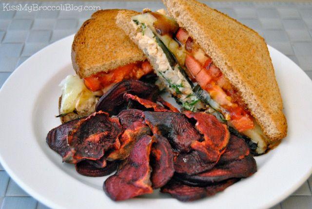 Tuna Melt Sandwich & Beet Chips