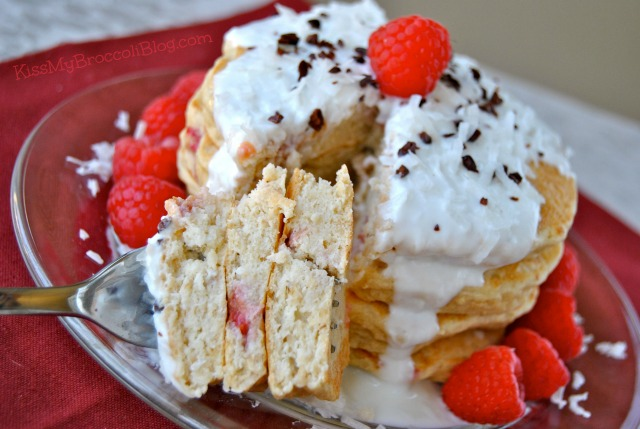 Coconut Raspberry Pancakes via Kiss My Broccoli