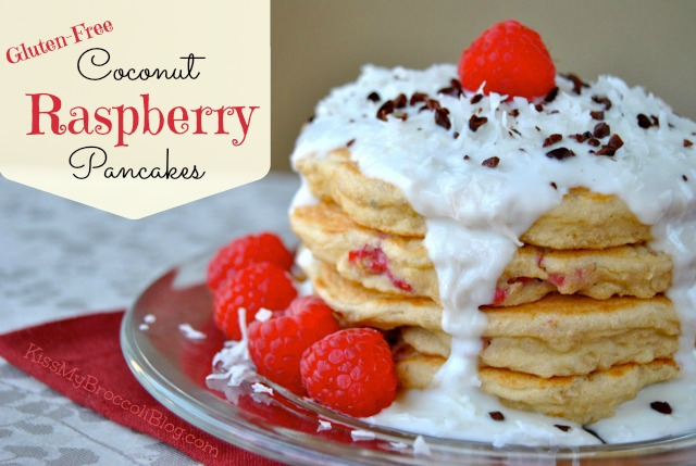 Coconut Raspberry Pancakes with Creamy Yogurt Sauce via Kiss My Broccoli -