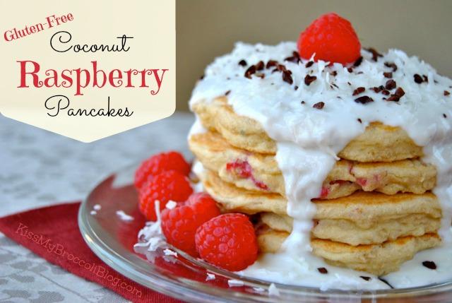 Coconut Raspberry Pancakes with Creamy Yogurt Sauce via Kiss My Broccoli -
