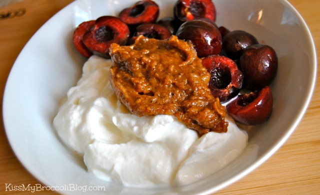 Greek Yogurt Cherries & Almond Butter