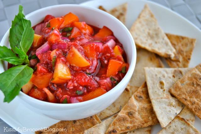 Peach Raspberry & Basil Salsa