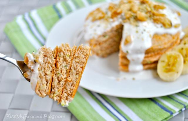 Zucchini Bread Protein Pancakes with Creamy Yogurt Sauce by Kiss My Broccoli