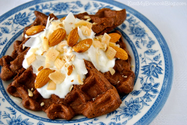 Almond Joy Waffles by www.kissmybroccoliblog.com