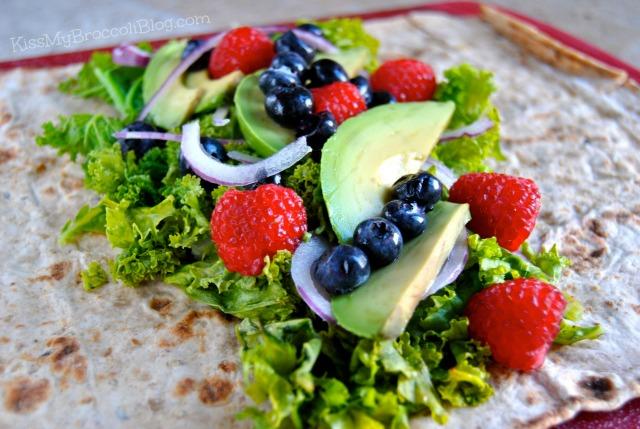 Berry Kale & Avocado Wrap Open