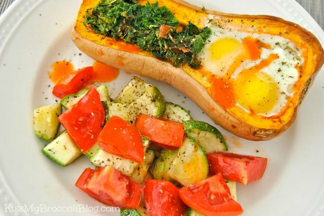 Egg in a Squash with Roasted Zucchini & Tomatoes