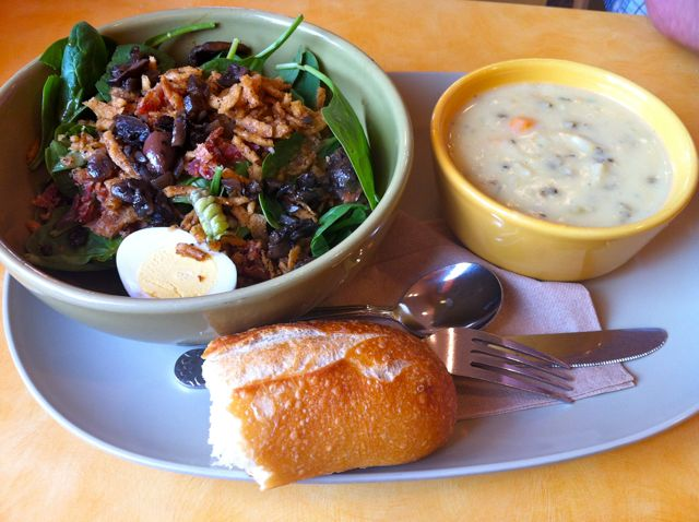 Panera Bread Spinach Power Salad & Chicken Wild Rice Stew