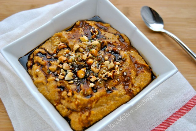 Thick & Creamy Peanut Butter Pumpkin Oat Bran with Nutrient-Rich Blackstrap Molasses  www.kissmybroccoliblog.com