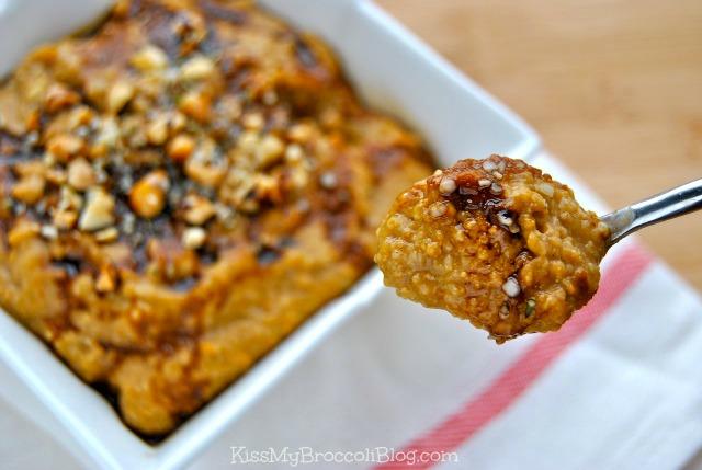 Voluminous Pumpkin Peanut Butter Oat Bran with Molasses Drizzle via www.kissmybroccoliblog.com