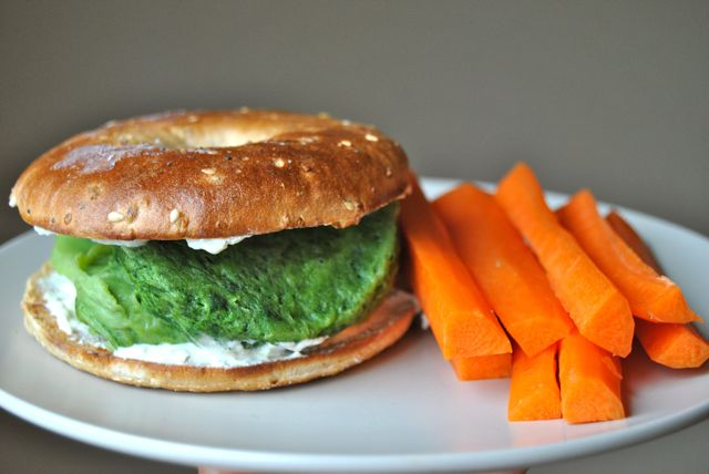 Bagel Thin with Cream Cheese and Spinach Egg Puff