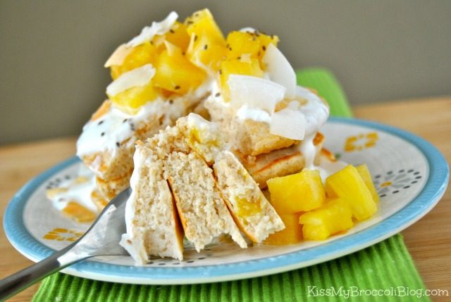 Celebrate Pancake Sunday in style with these Pina Colada Protein Pancakes from www.kissmybroccoliblog.com