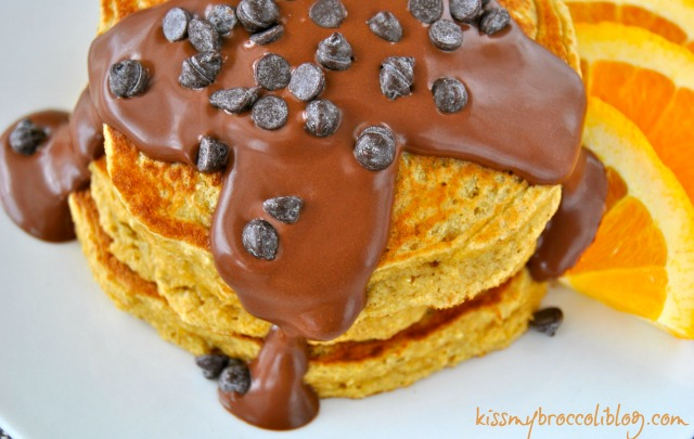 Chocolate Covered Orange Pancakes with Chocolate Chips by www.kissmybroccoliblog.com