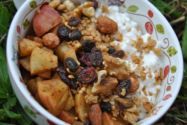 Cottage Cheese + Cinnamon Apples + Granola