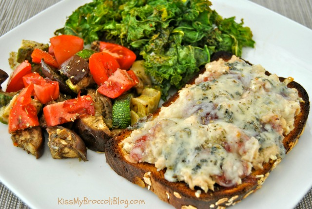 Drunken Tuna Melt with Roasted Veggies and Kale Chips