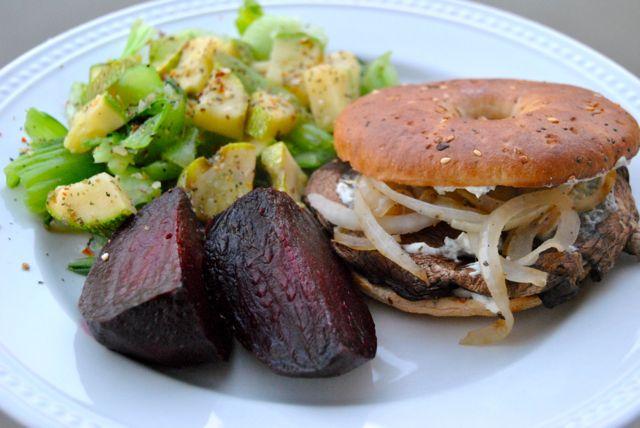 Grilled Portobello + Bok Choy + Zucchini + Beets