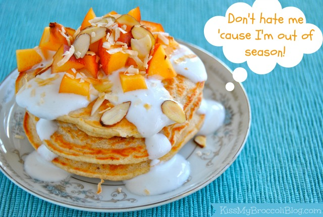 Peaches & Cream Protein Pancakes - Don't Hate Me Cause I'm Out of Season