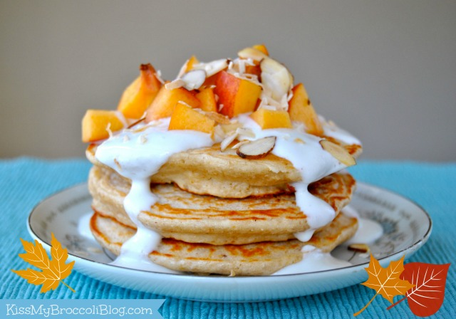 Peaches & Cream Protein Pancakes - Seasonal Crisis