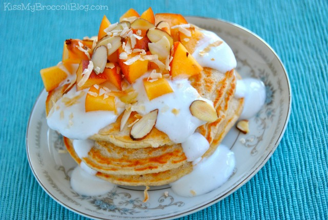 Peaches & Cream Protein Pancakes via Kiss My Broccoli