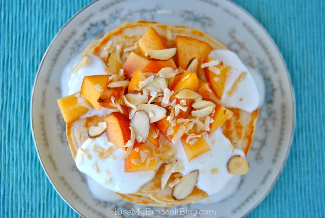 Peaches & Cream Protein Pancakes via www.kissmybroccoliblog.com