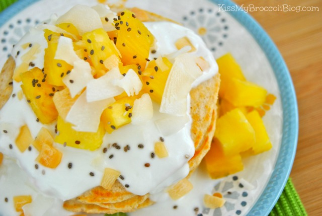 Pina Colada Protein Pancakes _ www.kissmybroccoliblog.com