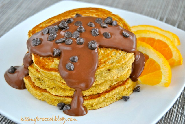 Soft and Fluffy Chocolate Covered Orange Pancakes www.kissmybroccoliblog.com