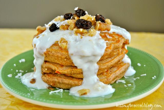 Carrot Cake Protein Pancakes from www.kissmybroccoliblog.com