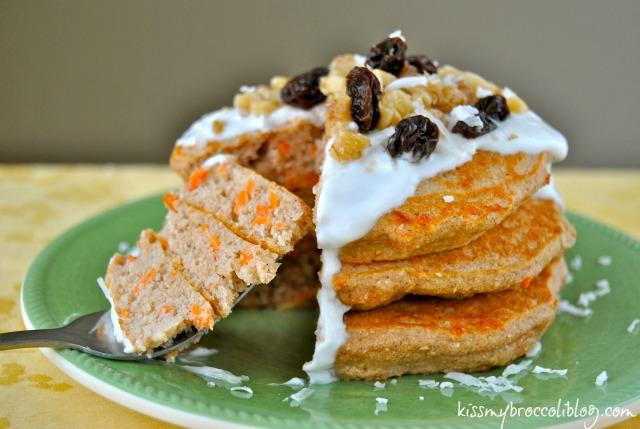 Carrot Cake Protein Pancakes www.kissmybroccoliblog.com