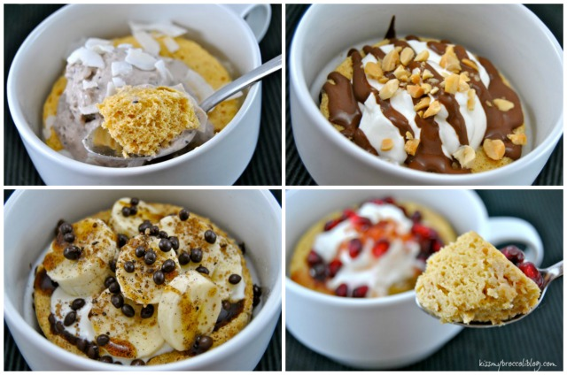 Peanut Butter Mug Cake Four Ways  www.kissmybroccoliblog.com