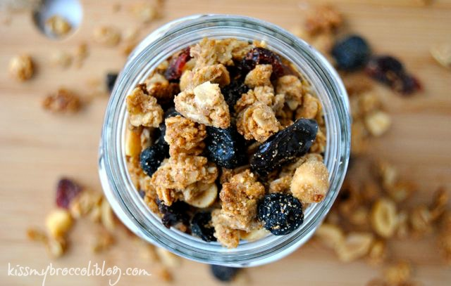 PB&J Granola - A sweet and salty treat that will have you reminiscing about the carefree days of your childhood! www.kissmybroccoliblog.com