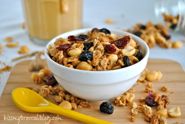 PB&J Granola from www.kissmybroccoliblog.com - With a mix of crunchy and chewy, sweet and salty, this is a breakfast treat everyone will love!