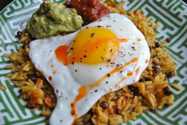 Tasty Bite Rice with Egg, Guac, & Salsa