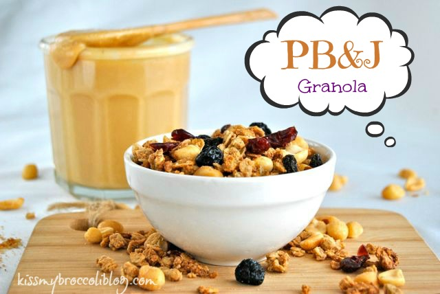 The classic childhood lunch has been transformed into a crunchy and chewy breakfast treat! PB&J Granola from www.kissmybroccoli