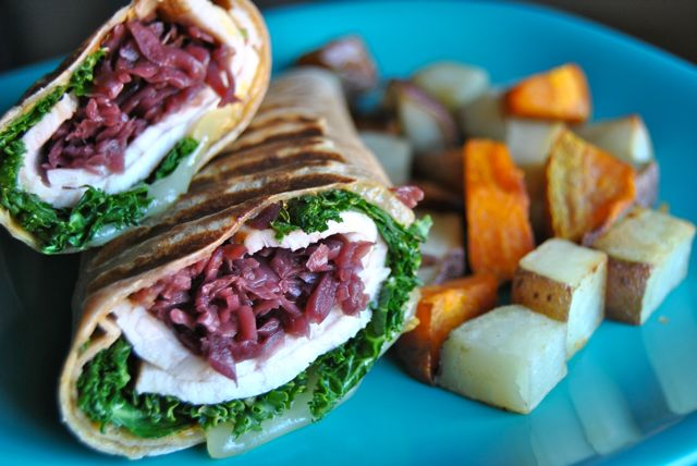 Turkey & Cheese Wrap with Potatoes and Kabocha