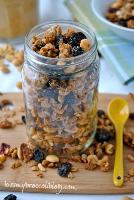 Who couldn't love this classic childhood favorite turned into a breakfast treat PB&J Granola from www.kissmybroccoliblog.com