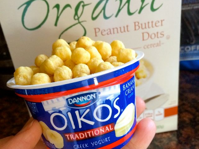 Banana Oikos Yogurt with Peanut Butter Dots Cereal